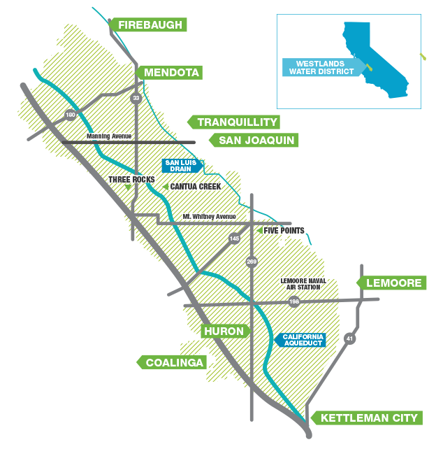Westland Water territories from North to South: Firebaugh, Mendota, Tranquility, San Joaquin, Lemoore, Huron, Coalinga, Kettleman City