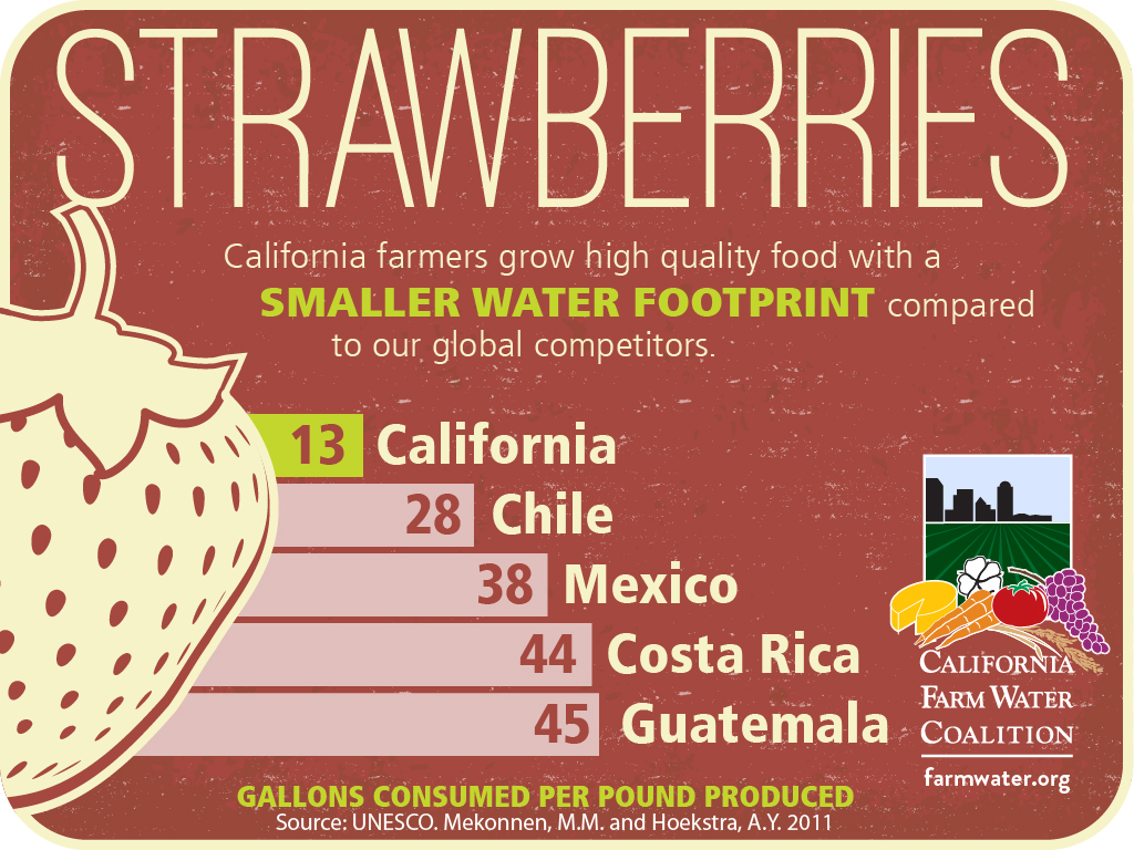 Strawberries California farmers grow high quality food with a smaller water footprint compared to our global competitors, 13 california, 28 chile, 38 mexico, 44 costa rica, 45 guatemala gallons consumed per pund produced