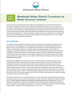 Westlands Water District Conversion of Water Services Contract